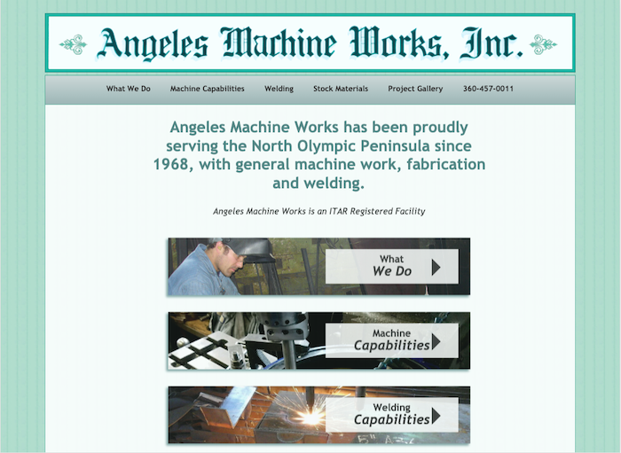 Angeles Machine Works website home page