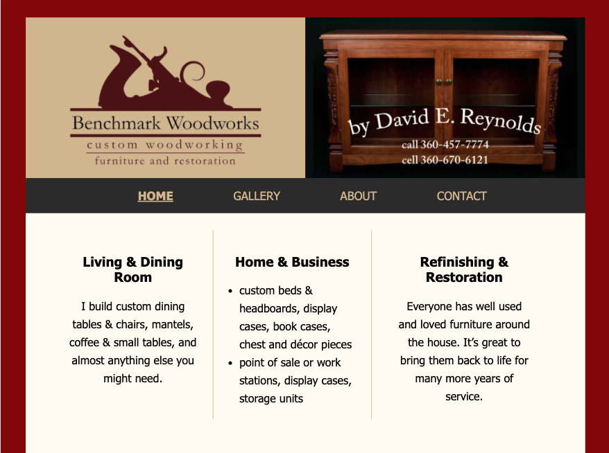 Benchmark Woodworks Homepage