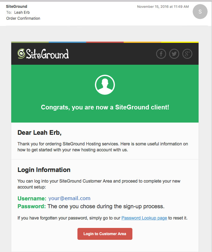 SiteGround.com Order Confirmation email sample