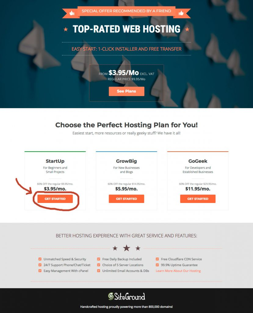 Screen print of SiteGround.com Hosting Plans
